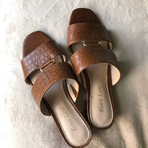 Brown Mock Croc Essex Lane Slides